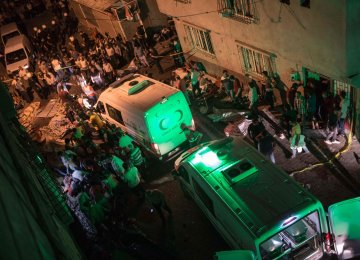 Ambulances arrive after an explosion in Gaziantep on Aug. 20.