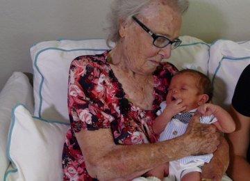 Grandma, Great Grandson Born 100 Years Apart