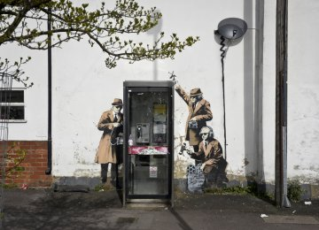 Bansky's mural 'Spy Booth' before it was destroyed