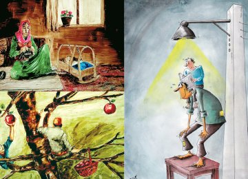 Screenshots from 'Children Under the Oak' (L) and the winning cartoon by Sohrab Kheiri
