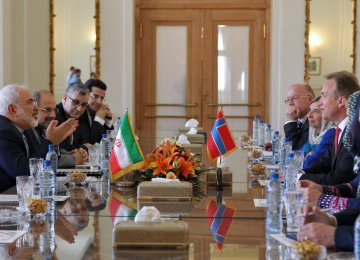 Iranian and Norwegian delegations meet in Tehran on August 17.