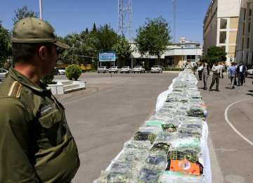 Iranian authorities seize about 30% of the estimated 155 tons of heroin and opium entering the country each year.