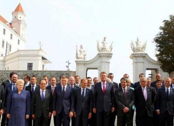 EU leaders pose for a family photo in Bratislava, Slovakia, September 16.