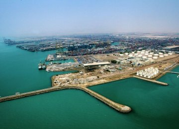 Shahid Rajaei Port in Hormozgan Province, Iran's largest container port