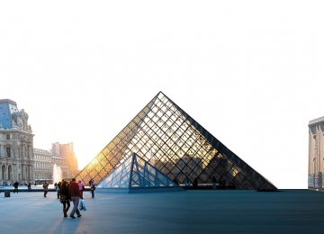From left: Louvre Palace, Louvre Pyramid in Paris and the National Museum of Iran in Tehran
