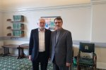 Iran's Ambassador to London Hamid Baeidinejad (R) meets with the leader of the UK Labour Party Jeremy Corbyn in London on Monday.