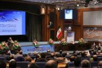Iranian President Hassan Rouhani speaks at the 31st Khwarizmi International Award in Tehran on Feb. 24.