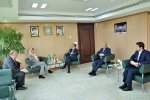 TCCIM chief, Masoud Khansari (C), meets Sweden's Ambassador to Iran Helena Sangeland in Tehran on April 18.