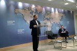 Deputy Foreign Minister Abbas Araqchi speaks at the Chatham House think tank in London on Feb. 22.