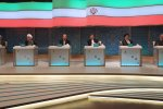 The six presidential candidates attend the first televised debate on April 28.