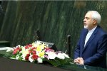Foreign Minister Mohammad Javad Zarif addresses the parliament for a confirmation hearing on August 16.