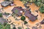 Flood-hit houses in Kalutara, Sri Lanka, on May 28.