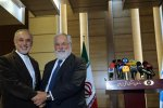 "Meeting with Iran's atomic chief Ali Akbar Salehi (L), EU Commissioner Miguel Arias-Canete echoed the block's mantra that it is ""fully committed"" to the 2015 deal and expects the same from all other parties."