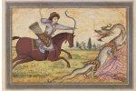 The folio depicting Bahram Gur facing the dragon