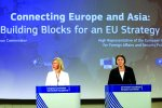 EU foreign affairs chief Federica Mogherinia (L) and Transport Commissioner Violeta Bulc present the proposal  for an EU strategy for connecting Europe and Asia.
