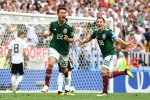 Hirving Lozano (No. 22) of Mexico celebrates his goal against Germany.