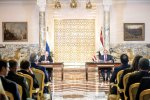 Egyptian President Abdel Fattah al-Sisi and his Russian counterpart Vladimir Putin (L) give a press conference following their talks at the presidential palace in Cairo on Dec. 11.