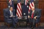 Mike Pence (R) and the Australian opposition leader, Bill Shorten, meet in Sydney on April 22.
