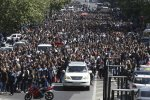 People march during a protest in Yerevan, Armenia, on April 23.