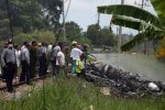 The scene of the Friday plane crash near Havana, Cuba