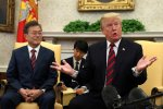 US President Donald Trump (R) and South Korean President Moon Jae-in in the Oval Office, Washington on May 22