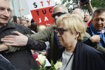 The head of Poland's Supreme Court, Malgorzata Gersdorf, among her supporters (File Photo)
