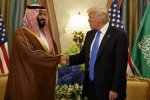 President Donald Trump (R) shakes hands with Saudi Crown Prince Mohammed bin Salman in Riyadh on May 20, 2017.