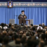 Leader of Islamic Revolution Ayatollah Seyyed Ali Khamenei addresses Intelligence Ministry officials in Tehran on Wednesday.