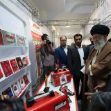 Leader of Islamic Revolution Ayatollah Seyyed Ali Khamenei visits an exhibition featuring domestically made products in Tehran on April 29.