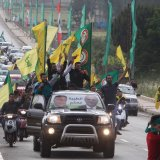 Supporters of Lebanon's Hezbollah in Marjayoun, Lebanon, celebrate election gains on May 7.