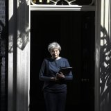 UK Prime Minister Theresa May shown at 10 Downing Street in London (File Photo)