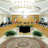 President Hassan Rouhani (C) attends a cabinet meeting in Tehran on May 9.