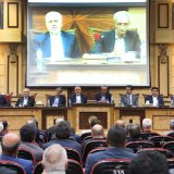 Mohammad Javad Zarif (4th L) addressed representatives of Iran Chamber of Commerce, Industries, Mines and Agriculture on June 24. (Photo: Bahareh Taghiabadi )
