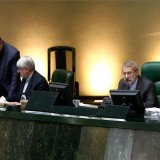 Parliament Speaker Ali Larijani (R) addresses lawmakers at the latest open session on May 15.