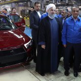 President Hassan Rouhani visited the IKCO factory in Tehran in May 2017. (File Photo)