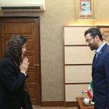 ICT Minister Mohammad Javad Azari-Jahromi (R) and the Asia-Pacific Telecommunity's secretary general, Areewan Haorangsi, met in Tehran on May 8.