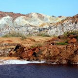 The color of soil on this small island varies from place to place and shines under the warm sun of Persian Gulf.