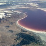 The lake spreads across 2,300 square kilometers at present and contains two billion cubic meters of water.