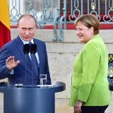 "The Kremlin said Merkel and Putin held a """"very serious and detailed"" three-hour discussion during their meeting outside of Berlin, including an exchange of views on Ukraine, Syria, Iran, and a crucial pipeline project."