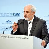 Mohammad Javad Zarif gives a speech at the Munich Security Conference on February 18.