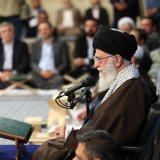 Leader of Islamic Revolution Ayatollah Seyyed Ali Khamenei addresses participants of the 35th International Holy Qur'an Competition in Tehran on April 26.