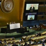 Foreign Minister Mohammad Javad Zarif addressing a UN meeting on sustaining peace on April 24