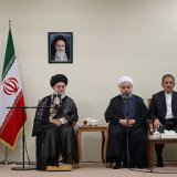 Ayatollah Seyyed Ali Khamenei meets President Hassan Rouhani and his Cabinet members in Tehran on Aug. 26.