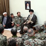 Ayatollah Seyyed Ali Khamenei meets air defense commanders and staff in Tehran on Sept. 3.