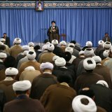 Ayatollah Seyyed Ali Khamenei addresses theological students in Tehran on Sept. 12.