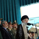 Ayatollah Seyyed Ali Khamenei addresses the graduation ceremony of police cadets in Tehran on Sept. 17.