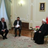 Foreign Minister of Luxemburg Jean Asselborn (L) meets President Hassan Rouhani in Tehran on Feb. 14.