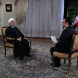President Hassan Rouhani speaks during a televised interview on Aug. 29.