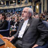 Foreign Minister Mohammad Javad Zarif attends a conference on Iraq's reconstruction in Kuwait on Feb. 14.