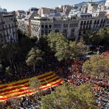 Pro-unity supporters take part in a big demonstration in central Barcelona, Spain, October 29.